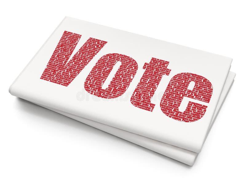 Politiskt begrepp: Rösta på tom tidningsbakgrund royaltyfri illustrationer