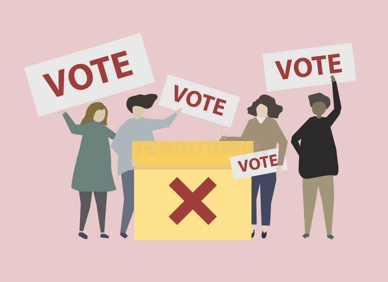 Politiskt förlovat folk med åsiktillustrationen vektor illustrationer