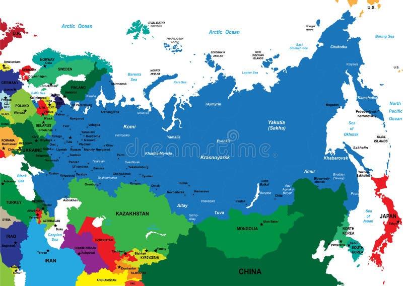 Politiskt kartlägga av Ryssland royaltyfri illustrationer