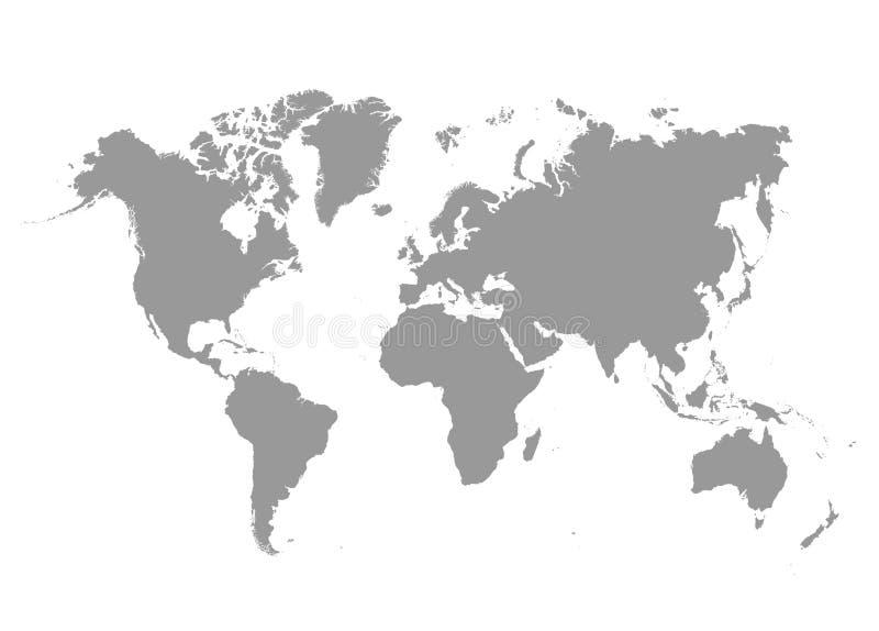 Politiskt kartlägga av världen Grå färger - länder också vektor för coreldrawillustration royaltyfri illustrationer