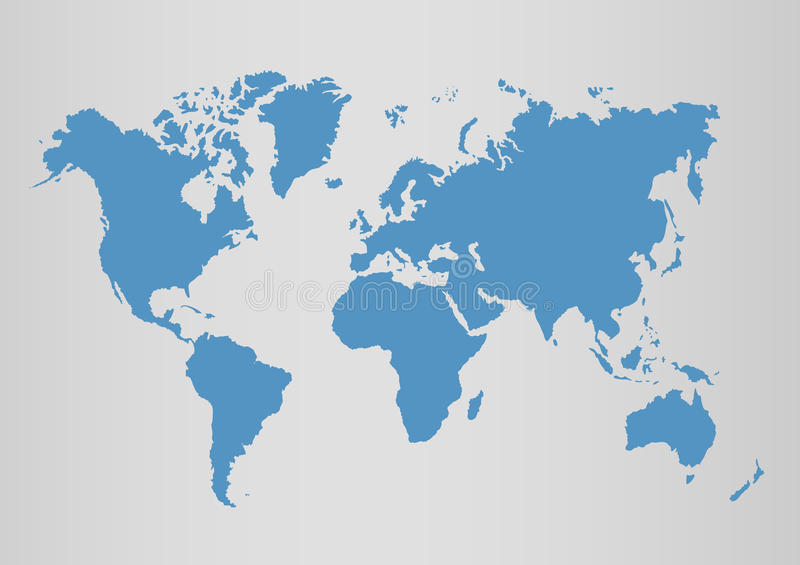 Polityczna światowa błękitna mapy i wektoru ilustracja royalty ilustracja