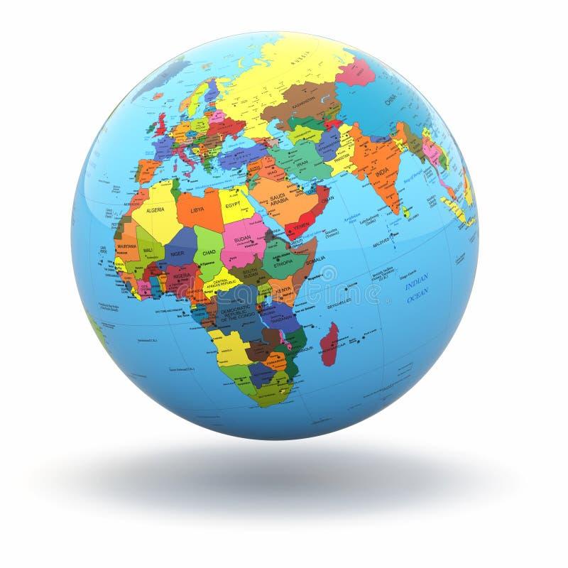 Polityczna światowa kula ziemska na białym tle. 3d ilustracja wektor