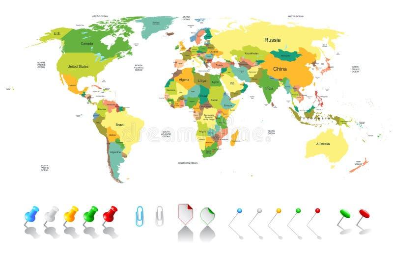 Polityczna światowa mapa ilustracji