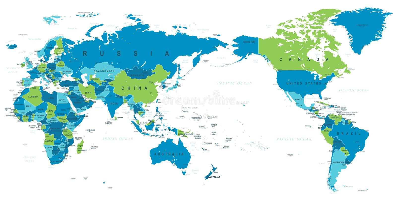 Polityczna Światowa mapa Pacyfik Ześrodkowywał ilustracji