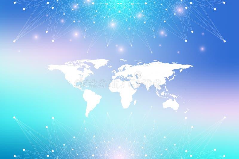 Polityczna Światowa mapa z globalnym technologia networking pojęciem Cyfrowych dane unaocznienie Wykłada plexus Duży Dane royalty ilustracja