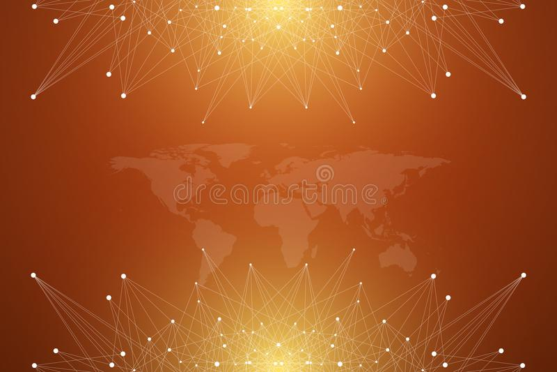 Polityczna Światowa mapa z globalnym technologia networking pojęciem Cyfrowych dane unaocznienie Wykłada plexus Duży Dane ilustracji