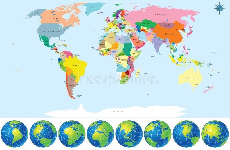 Polityczna Światowa mapa z Ziemskimi kulami ziemskimi ilustracja wektor