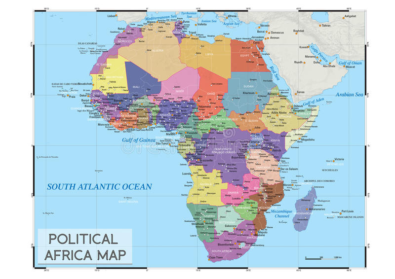 Polityczna Afryka mapa fotografia royalty free