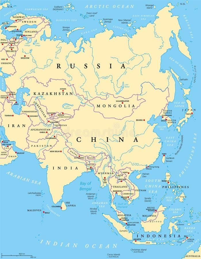 polityczna Asia mapa ilustracja wektor