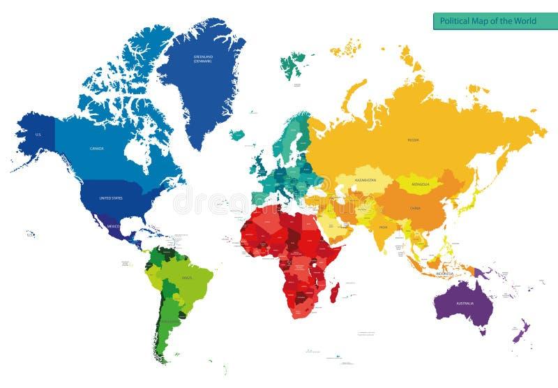 Polityczna mapa świat ilustracja wektor