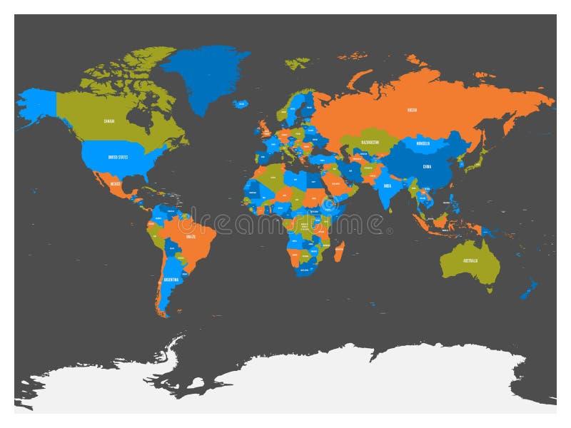 Polityczna mapa świat z Antarctica Kraje w cztery różnych kolorach bez granic na zmroku siwieją tło ilustracja wektor