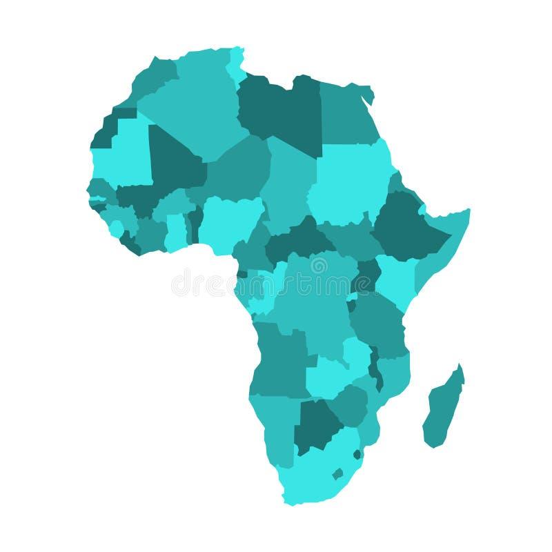 Polityczna mapa Afryka w cztery cieniach turkusowy błękit na białym tle również zwrócić corel ilustracji wektora ilustracja wektor