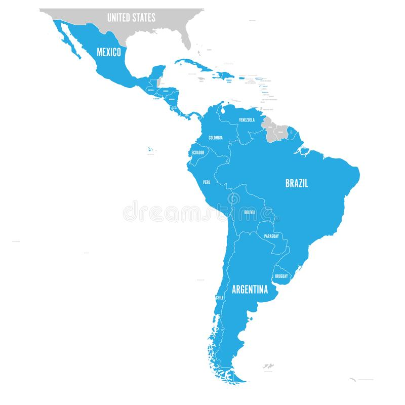 Polityczna mapa ameryka łacińska Latyno-amerykański stanu błękit podkreślający w mapie Ameryka Południowa, Ameryka Środkowa i ilustracji