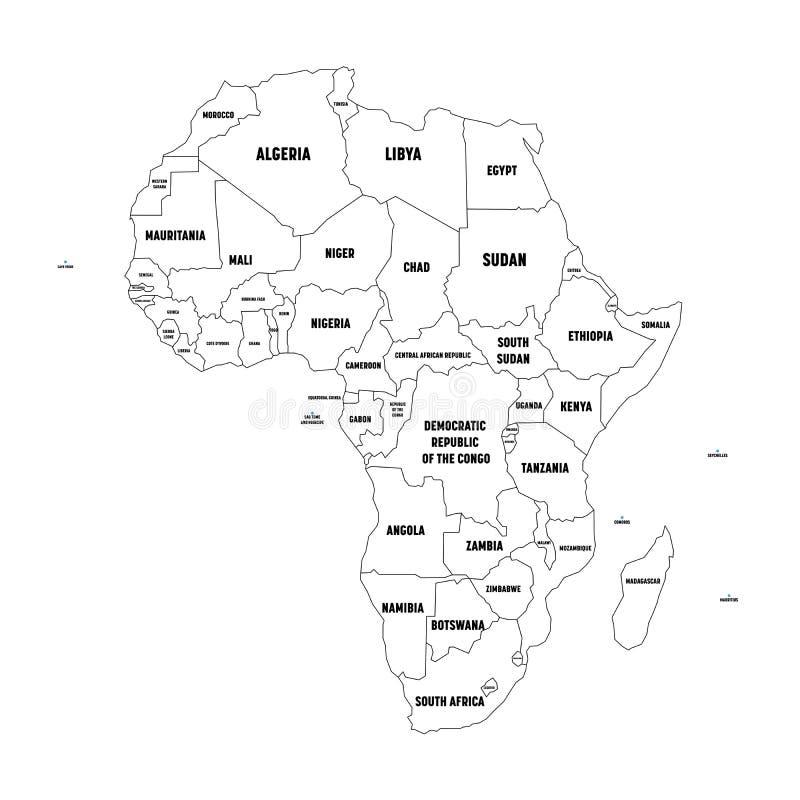 Polityczna mapa Arfica kontynent Prosty czarny wireframe kontur z granicami kraju i kraju imienia etykietkami, dalej royalty ilustracja