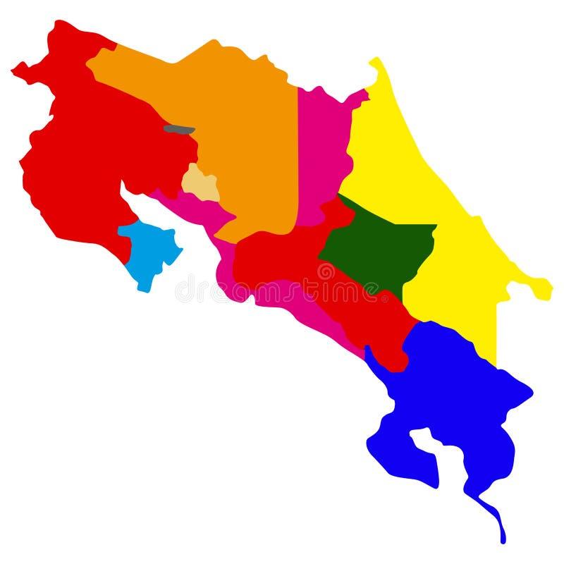 Polityczna mapa Costa Rica ilustracja wektor