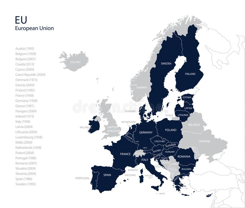 Polityczna mapa e europejski zjednoczenie bez Zlanego królestwa. - ilustracja wektor