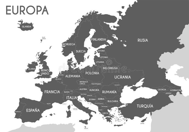 Polityczna mapa Europa w szarość barwi z białym tłem i imionami kraje w hiszpańszczyznach ilustracji