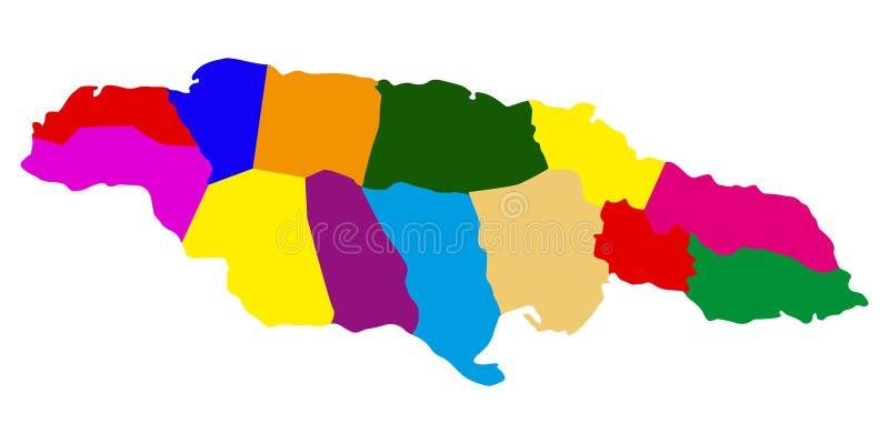 Polityczna mapa Jamajka royalty ilustracja