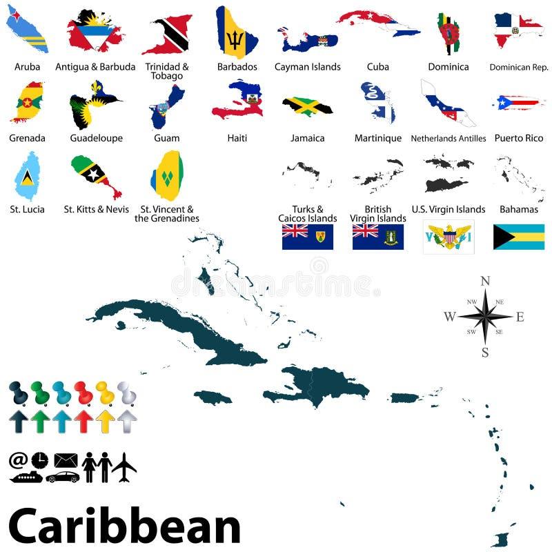 Polityczna mapa Karaiby ilustracji