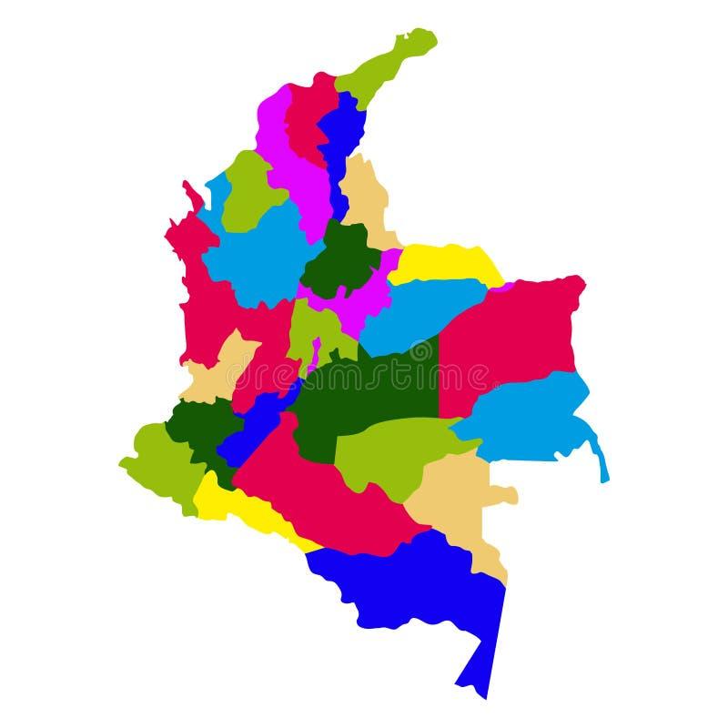 Polityczna mapa Kolumbia ilustracja wektor