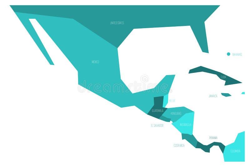 Polityczna mapa Meksyk Amercia i centrala Simlified schematyczna płaska wektorowa mapa w cztery cieniach turkusowy błękit ilustracja wektor