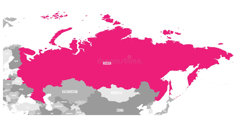 Polityczna mapa Rosja i otaczający kraje Podkreślający menchiami również zwrócić corel ilustracji wektora ilustracja wektor