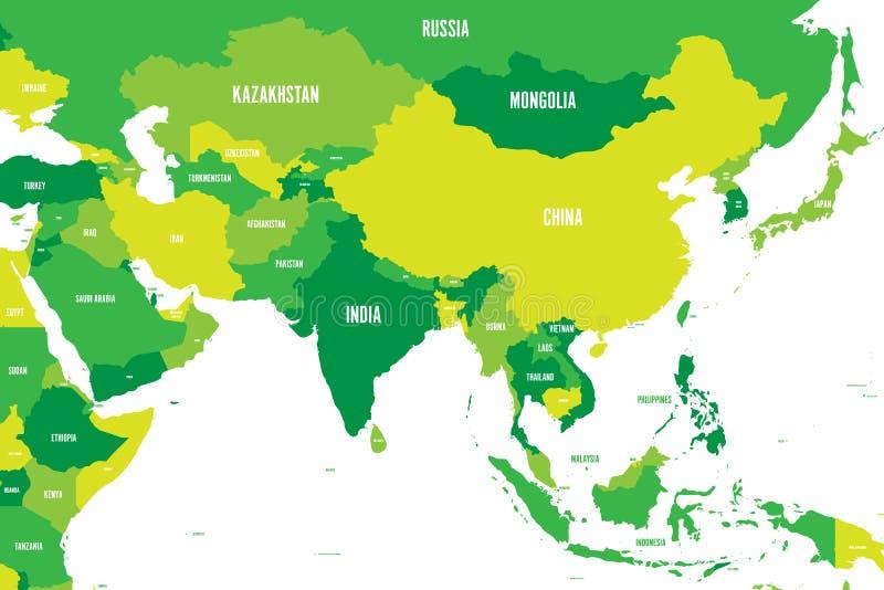 Polityczna mapa westernu, południowego i wschodniego Azja w cieniach zieleń, Nowożytna stylowa prosta płaska wektorowa ilustracja royalty ilustracja