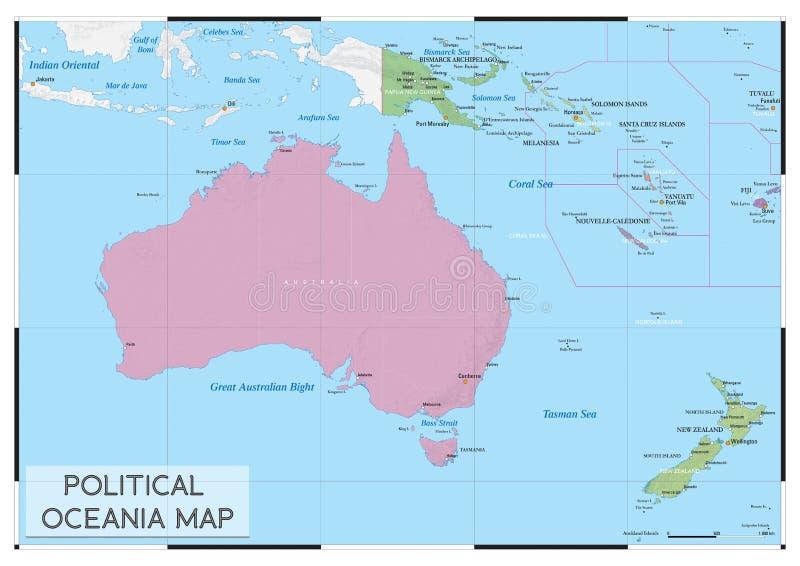 Polityczna Oceania mapa zdjęcie royalty free