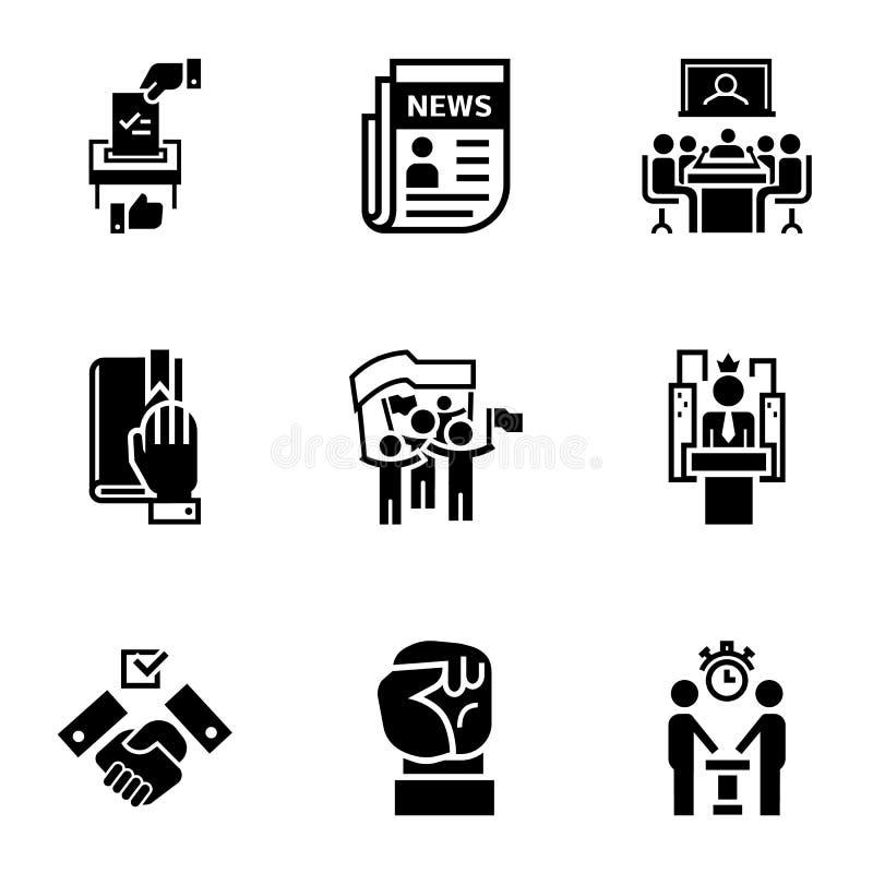 Politycznego spotkania ikony set, prosty styl royalty ilustracja