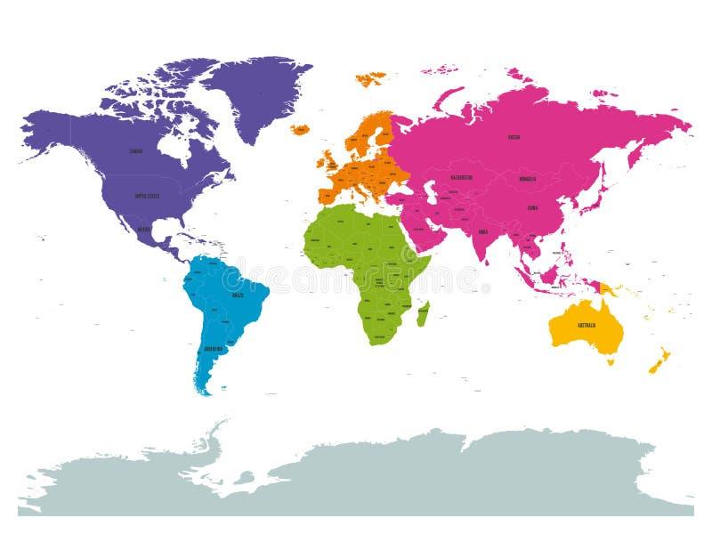 Polityczny świat barwiący kontynentami z krajem przylepia etykietkę om bielu tło Prosta płaska wektorowa ilustracja royalty ilustracja