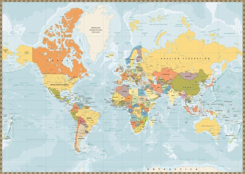 Polityczny Światowej mapy rocznika kolor z jeziorami i rzekami royalty ilustracja