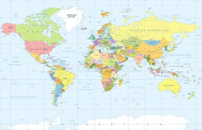 Polityczny Barwiony Światowej mapy wektor
