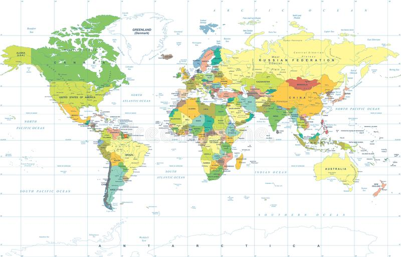 Polityczny Barwiony Światowej mapy wektor ilustracji