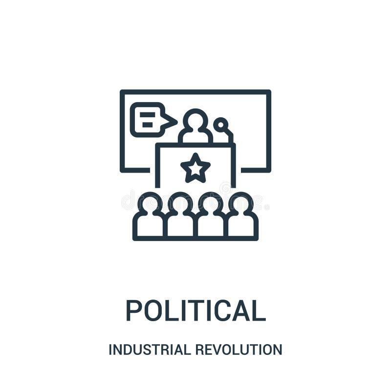 polityczny ikona wektor od rewolucji przemysłowej kolekcji Cienieje kreskową polityczną kontur ikony wektoru ilustrację ilustracji