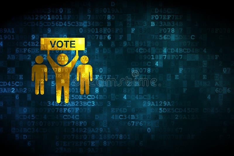 Polityczny pojęcie: Kampania Wyborcza na cyfrowym tle ilustracji