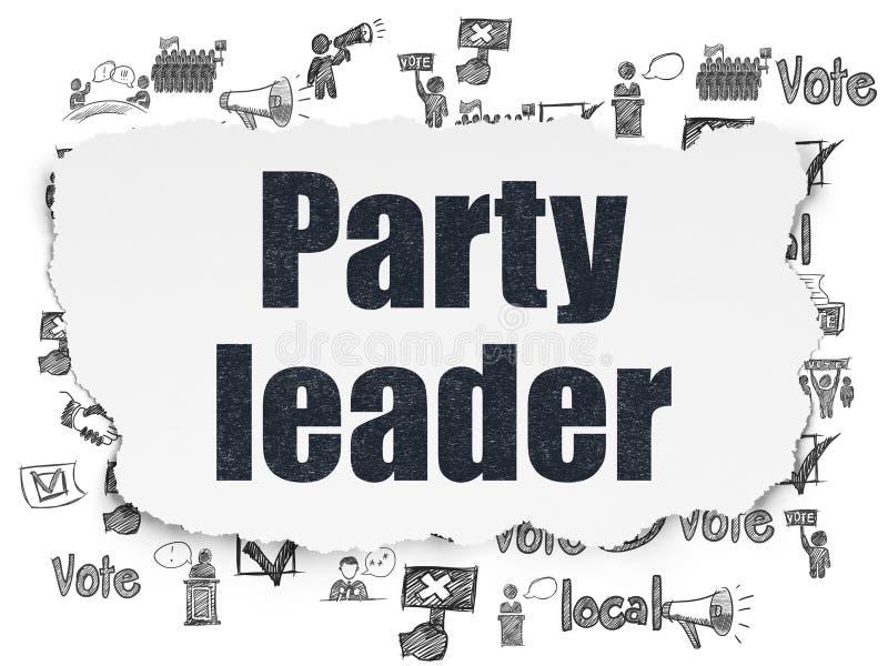 Polityczny pojęcie: Lider Partii na Poszarpanym Papierowym tle ilustracji