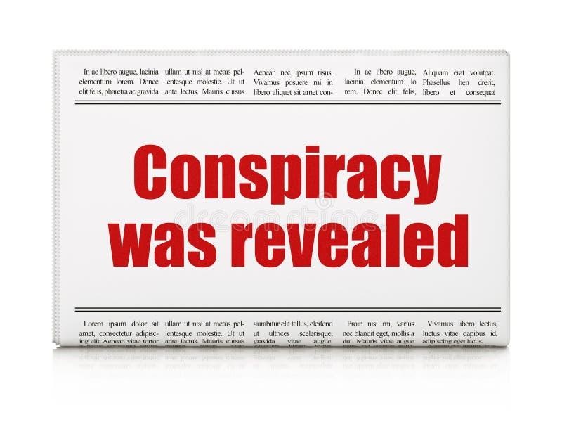 Polityczny pojęcie: nagłówka prasowego spisek Wyjawiał ilustracja wektor