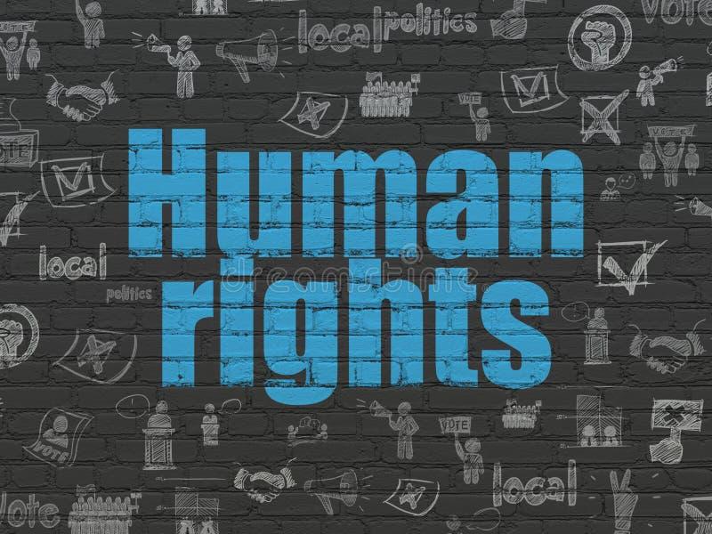 Polityczny pojęcie: Prawa Człowieka na ściennym tle ilustracja wektor
