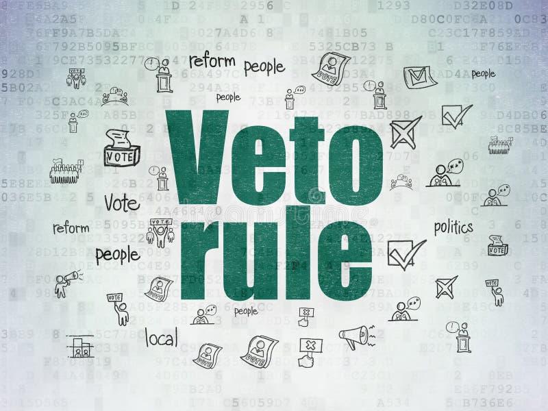Polityczny pojęcie: Weto reguła na Cyfrowych dane papieru tle ilustracja wektor