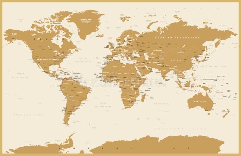Polityczny rocznik Światowej mapy wektor ilustracji
