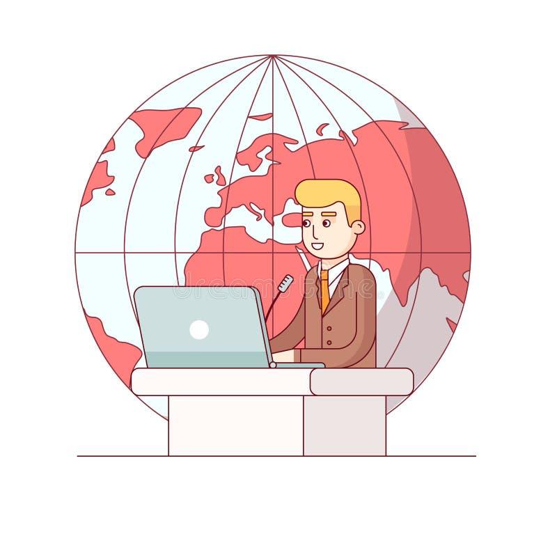 Polityk lub globalny biznesowy mężczyzna daje mowie ilustracji