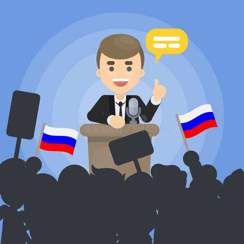 Polityk na debatach ilustracji