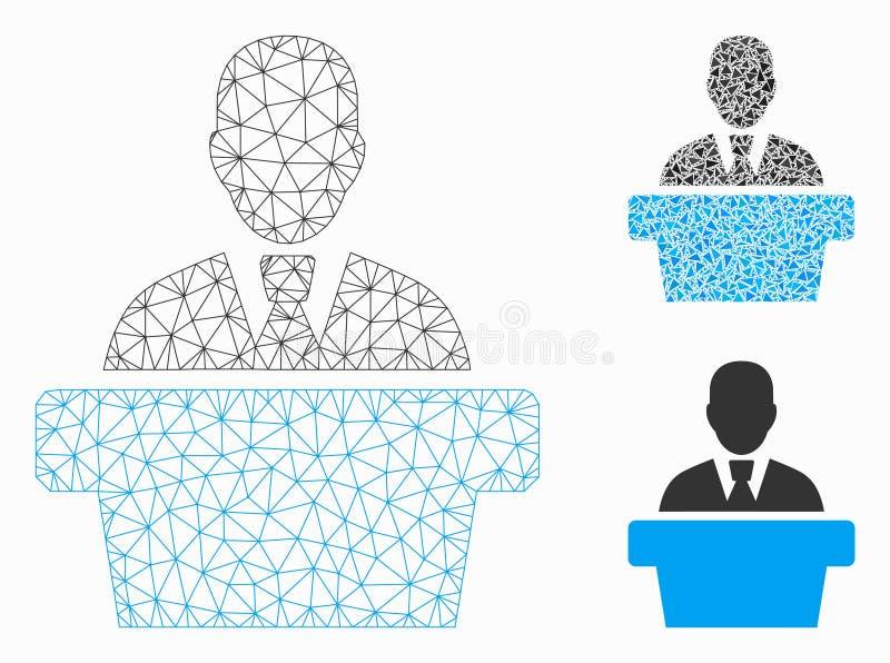 Polityk siatki sieci trójboka i modela mozaiki Wektorowa ikona royalty ilustracja