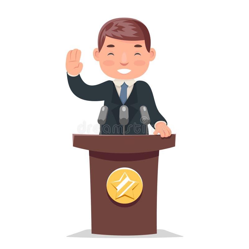 Polityk trybuny występu biznesmena charakteru kreskówki projekta wektoru ilustracja ilustracji