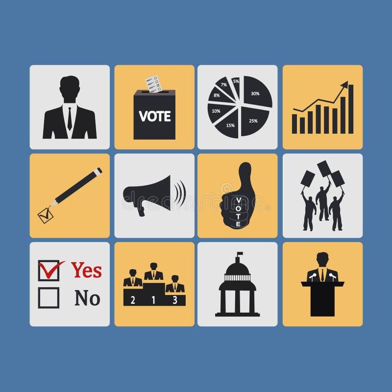 Polityka, Głosować i wybory ikony, - wektorowa ikona ilustracja wektor