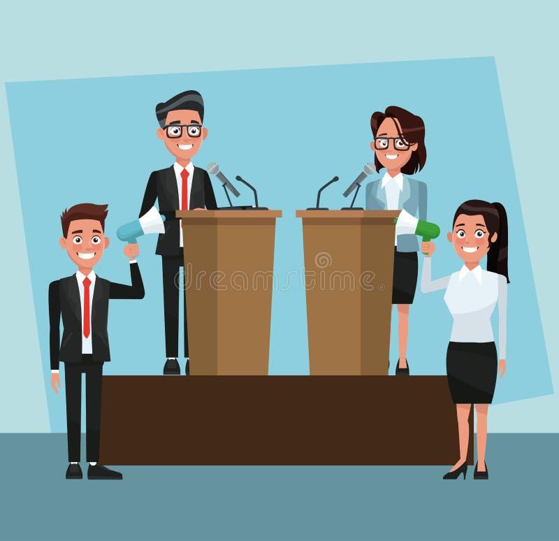 Polityka mówienie z mikrofonem ilustracja wektor