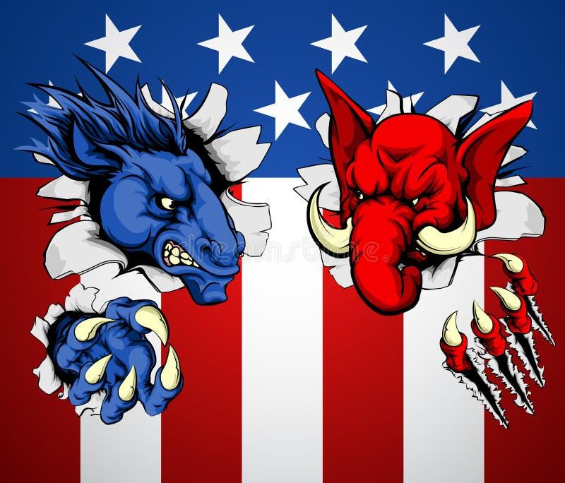 Polityka republikanina Demokrata pojęcie ilustracja wektor