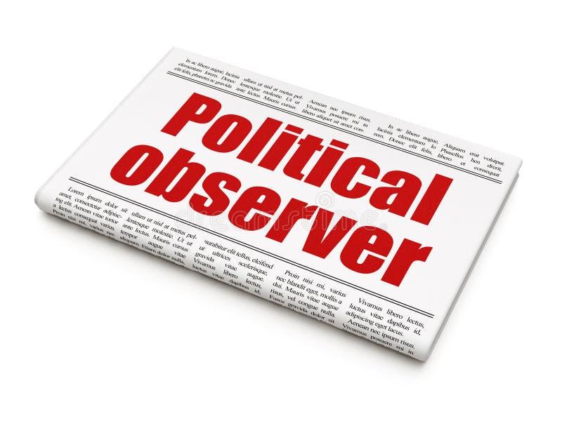Polityki pojęcie: nagłówka prasowego Polityczny obserwator royalty ilustracja