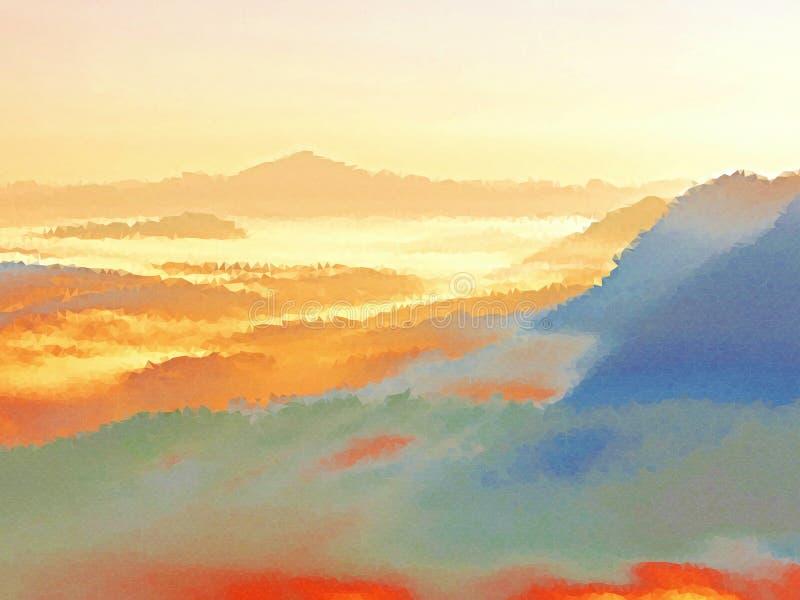 polivinílico bajo Brumoso despertando en las colinas hermosas Los picos de colinas se están pegando hacia fuera de la niebla stock de ilustración