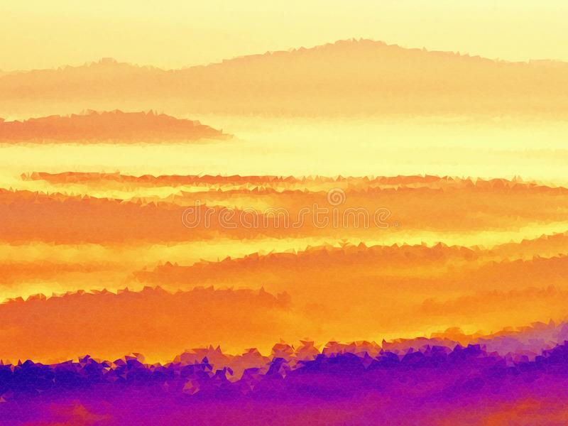polivinílico bajo Brumoso despertando en las colinas hermosas Los picos de colinas se están pegando hacia fuera de la niebla libre illustration
